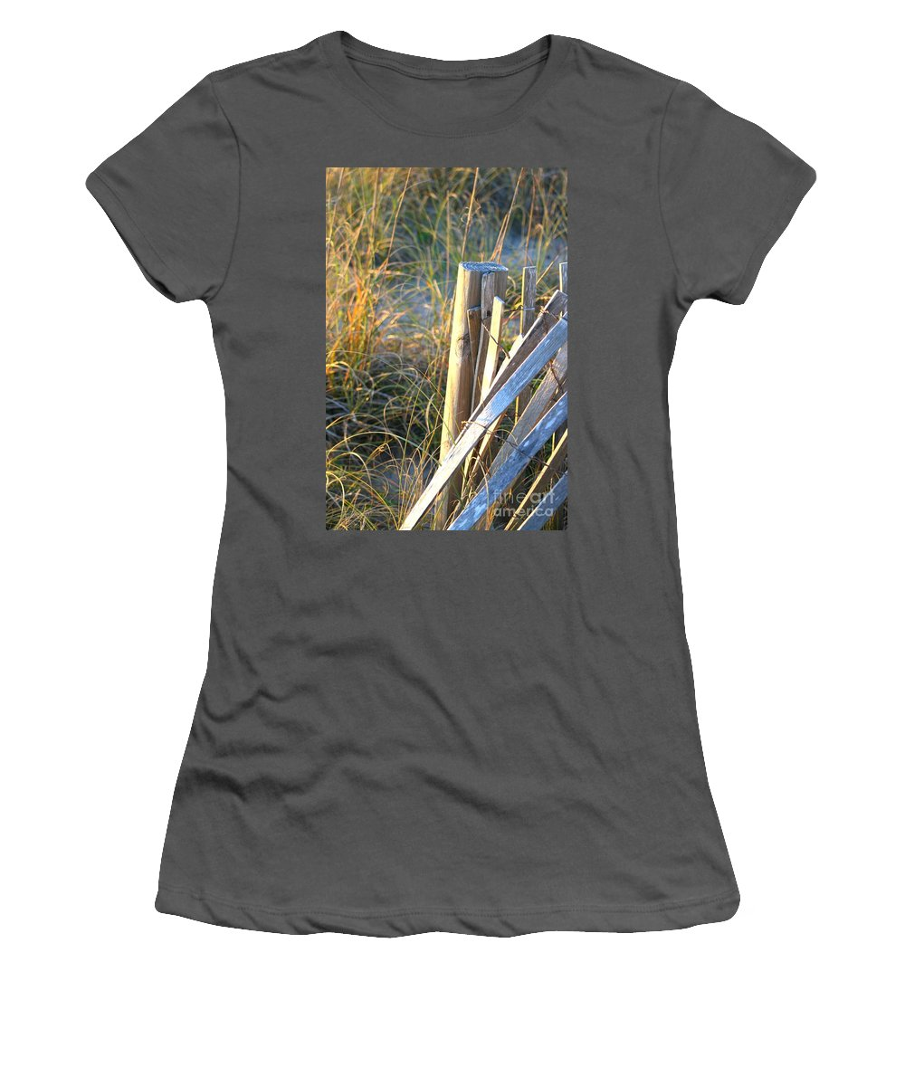Post Women's T-Shirt (Athletic Fit) featuring the photograph Wooden Post And Fence At The Beach by Nadine Rippelmeyer