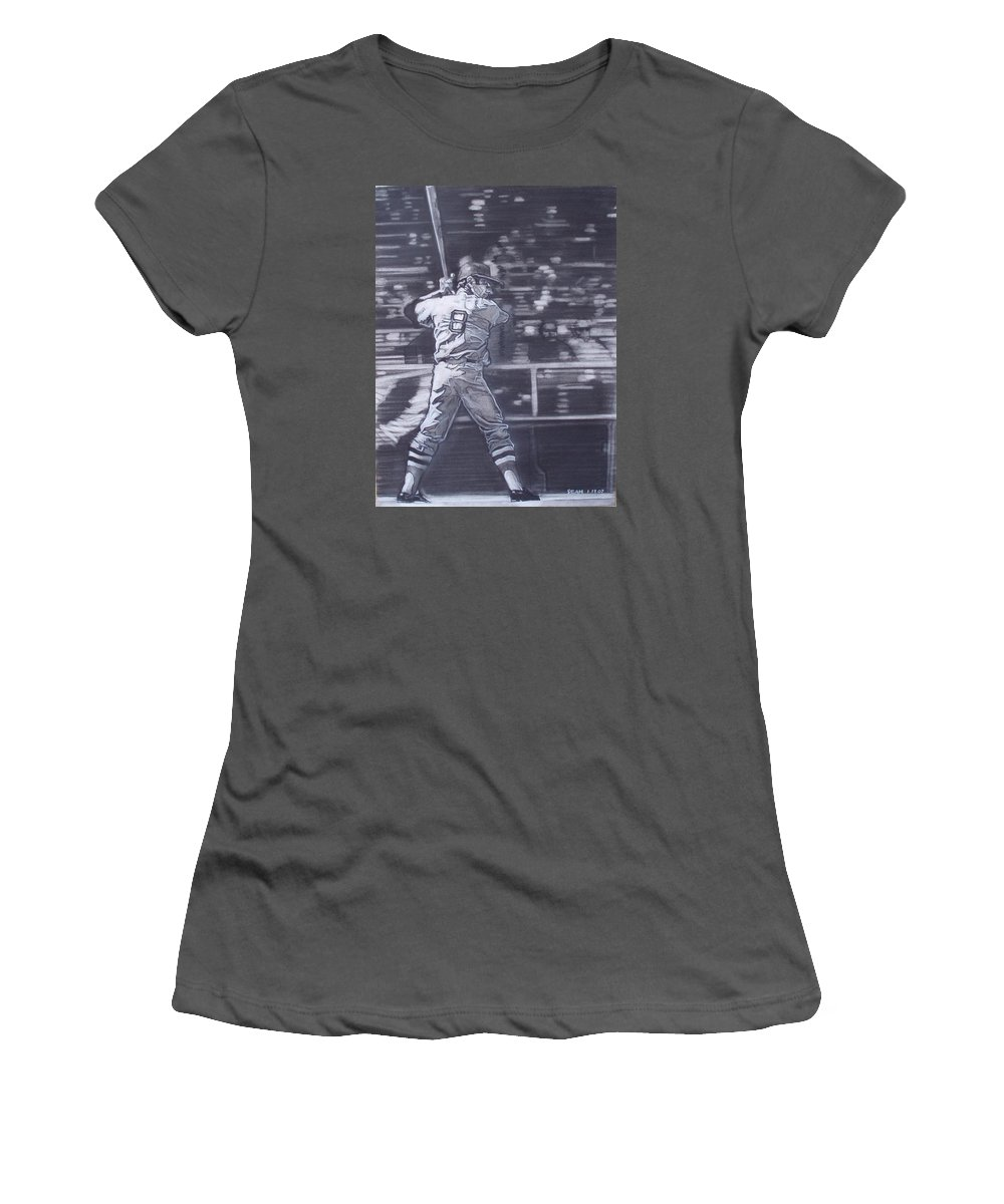 Charcoal Women's T-Shirt (Athletic Fit) featuring the drawing Yaz - Carl Yastrzemski by Sean Connolly