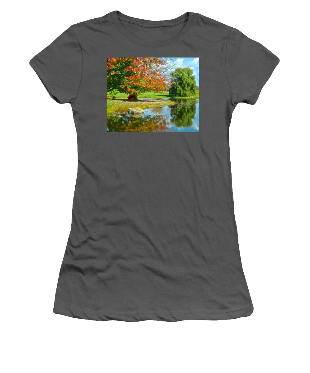 Yellow Women's T-Shirt (Athletic Fit) featuring the photograph Yellow And Blue Make Green by Frozen in Time Fine Art Photography