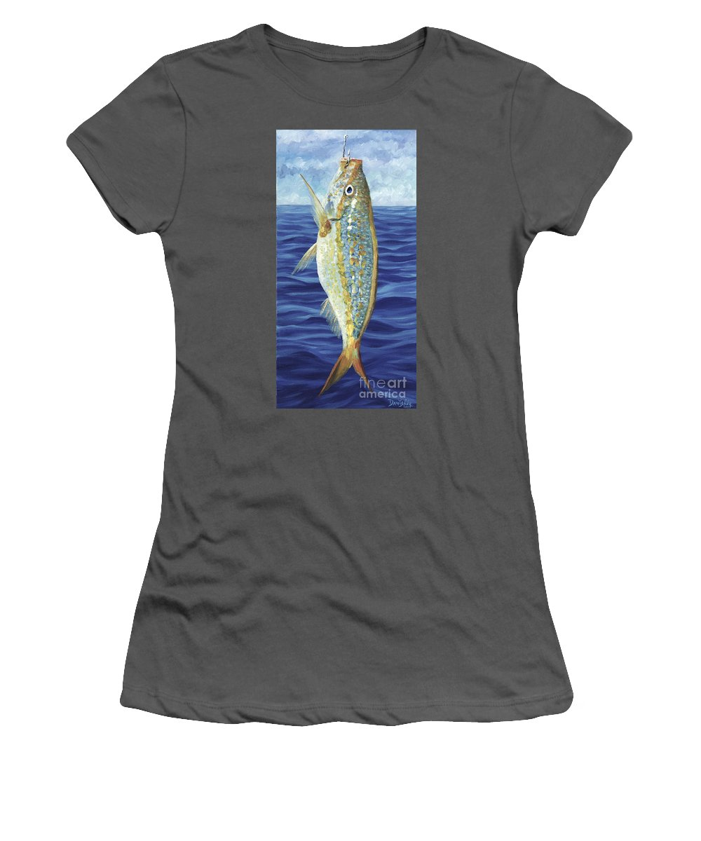 Snapper Women's T-Shirt (Athletic Fit) featuring the painting Yellowtail On The Menu by Danielle Perry