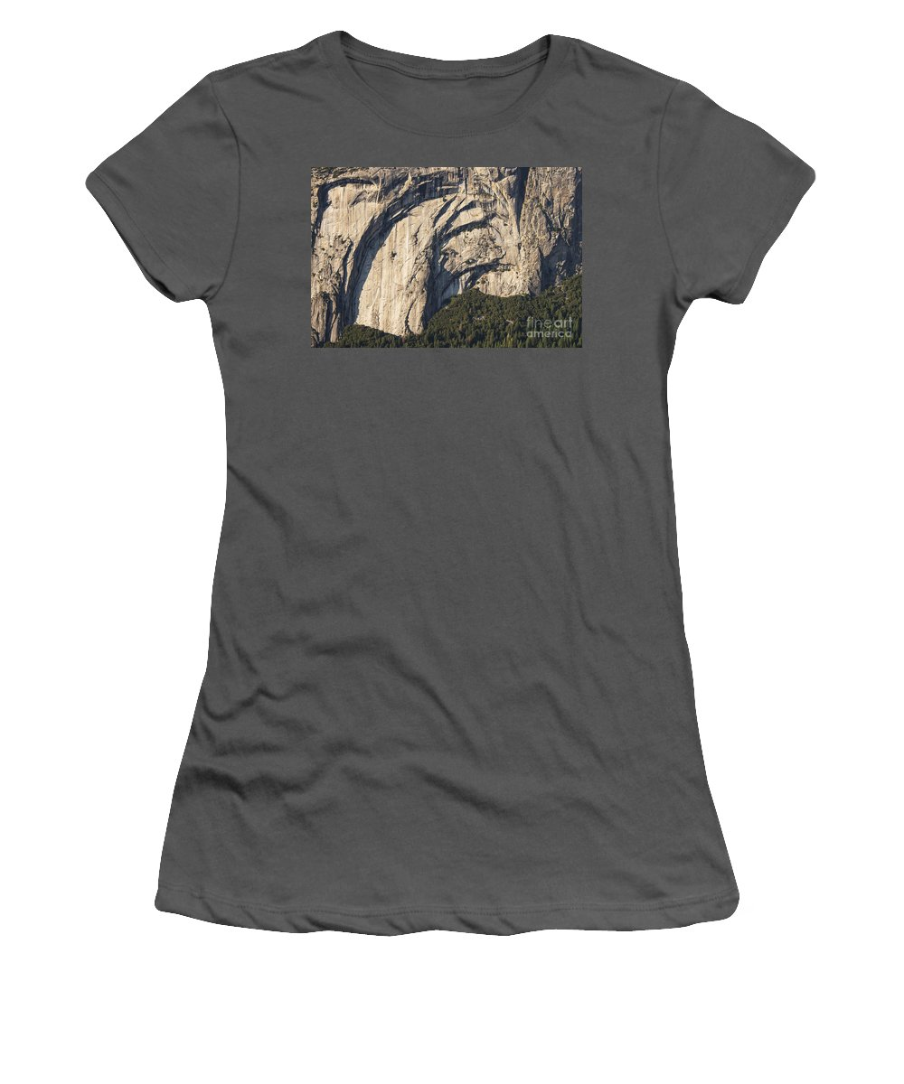 Fir Tree Trees Rock Mountain Mountains Yosemite National Park California Parks Landscape Landscapes Women's T-Shirt (Athletic Fit) featuring the photograph Yosemite Rock Detail by Bob Phillips