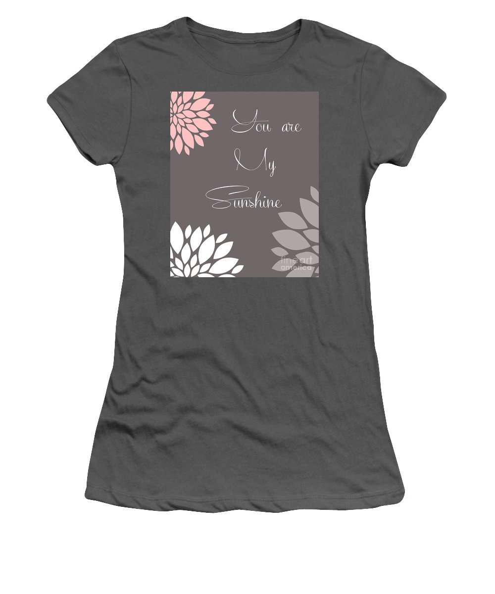 You Women's T-Shirt (Athletic Fit) featuring the digital art You Are My Sunshine Peony Flowers by Voros Edit