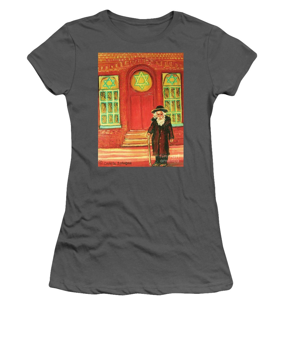 Synagogues Women's T-Shirt (Athletic Fit) featuring the painting Zaida's Shul by Carole Spandau