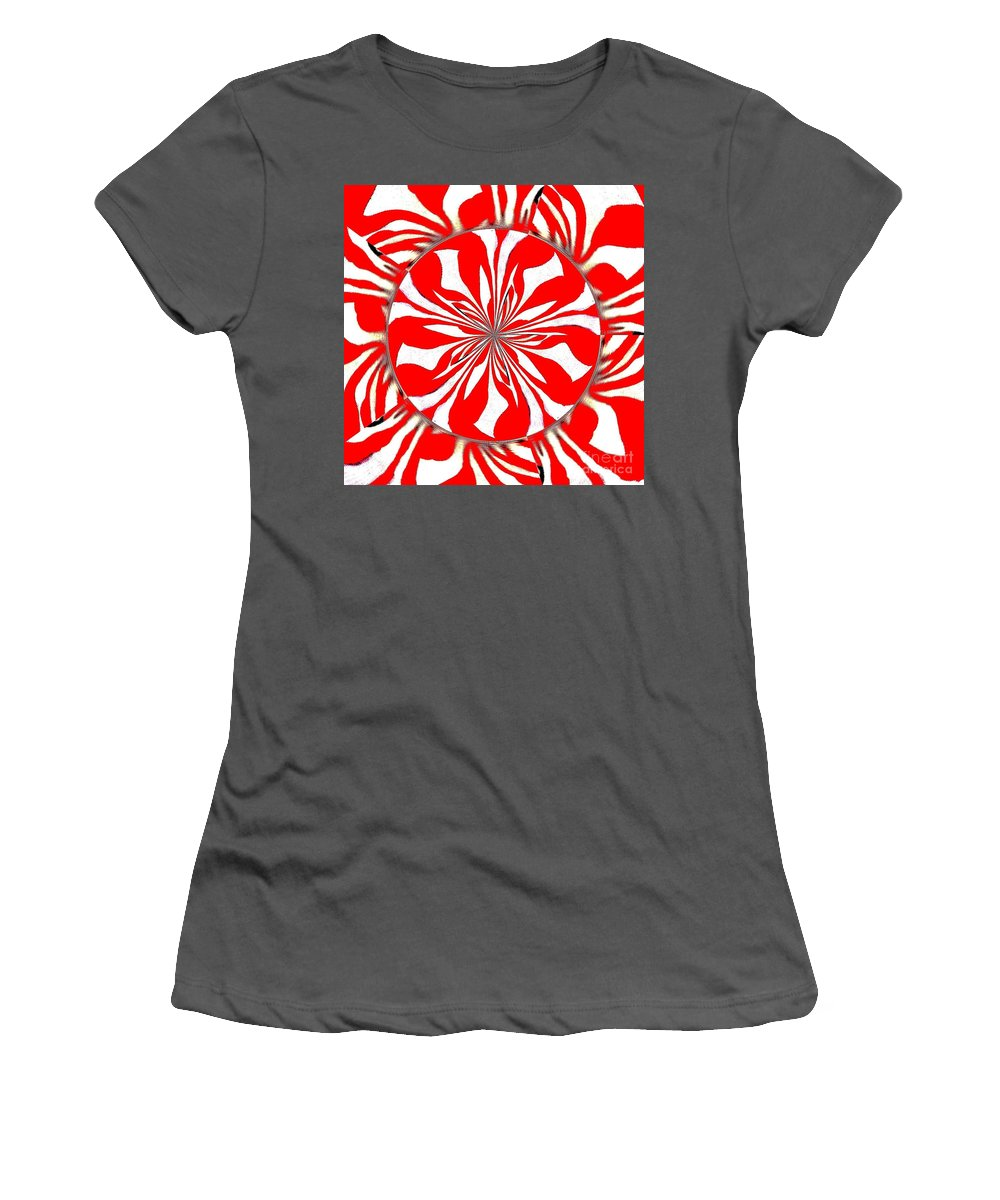 Zebra Women's T-Shirt (Athletic Fit) featuring the painting Zebra Red Swirling Kaleidoscope by Saundra Myles