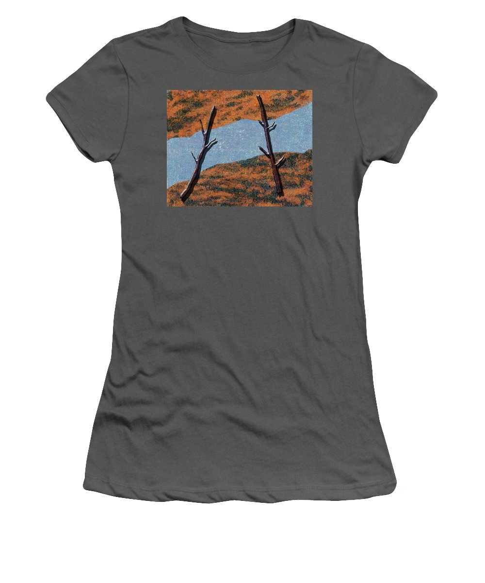 Abstract Women's T-Shirt (Athletic Fit) featuring the digital art 0361 Abstract Landscape by Chowdary V Arikatla