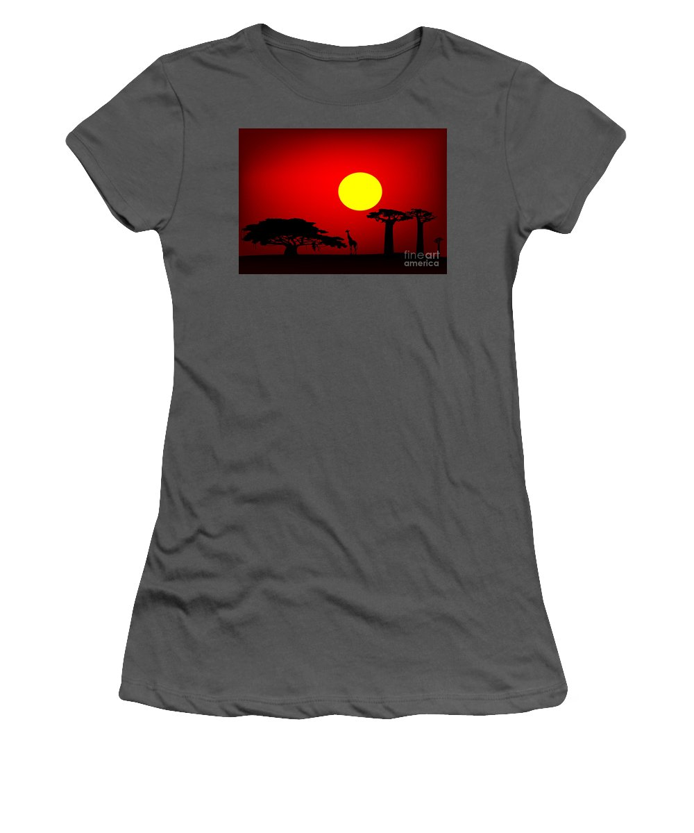 Africa Women's T-Shirt (Athletic Fit) featuring the digital art Africa Sunset by Michal Boubin