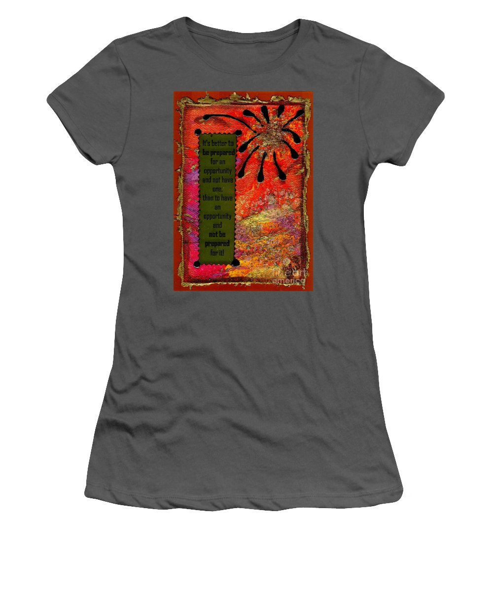 Greeting Cards Women's T-Shirt (Athletic Fit) featuring the mixed media Be Prepared by Angela L Walker