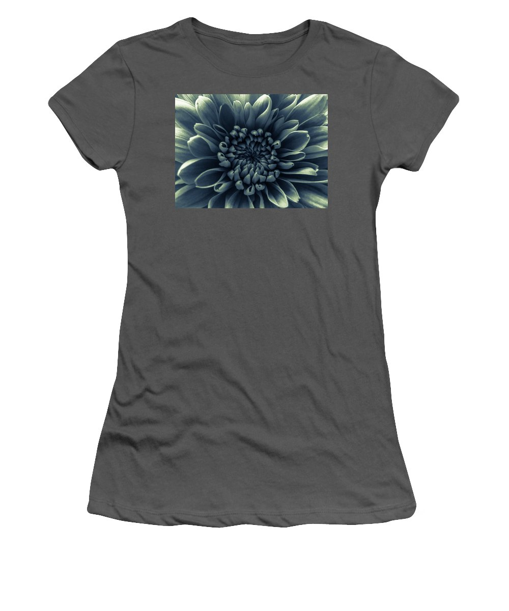 Silver Flower Women's T-Shirt (Athletic Fit) featuring the photograph Blue Flower by Dawn OConnor