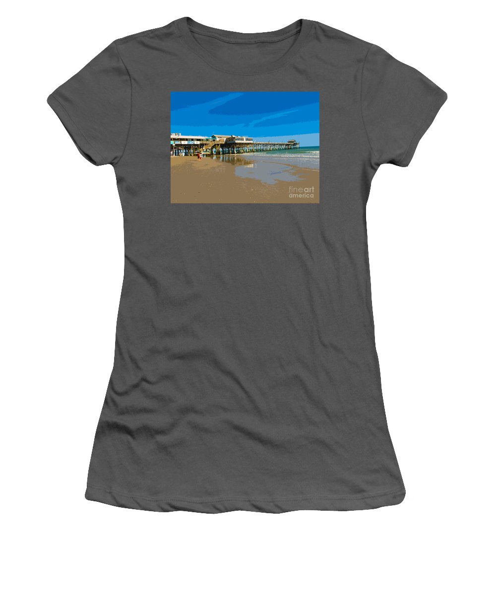 Pier Women's T-Shirt (Athletic Fit) featuring the painting Cocoa Beach Pier Florida by Allan Hughes