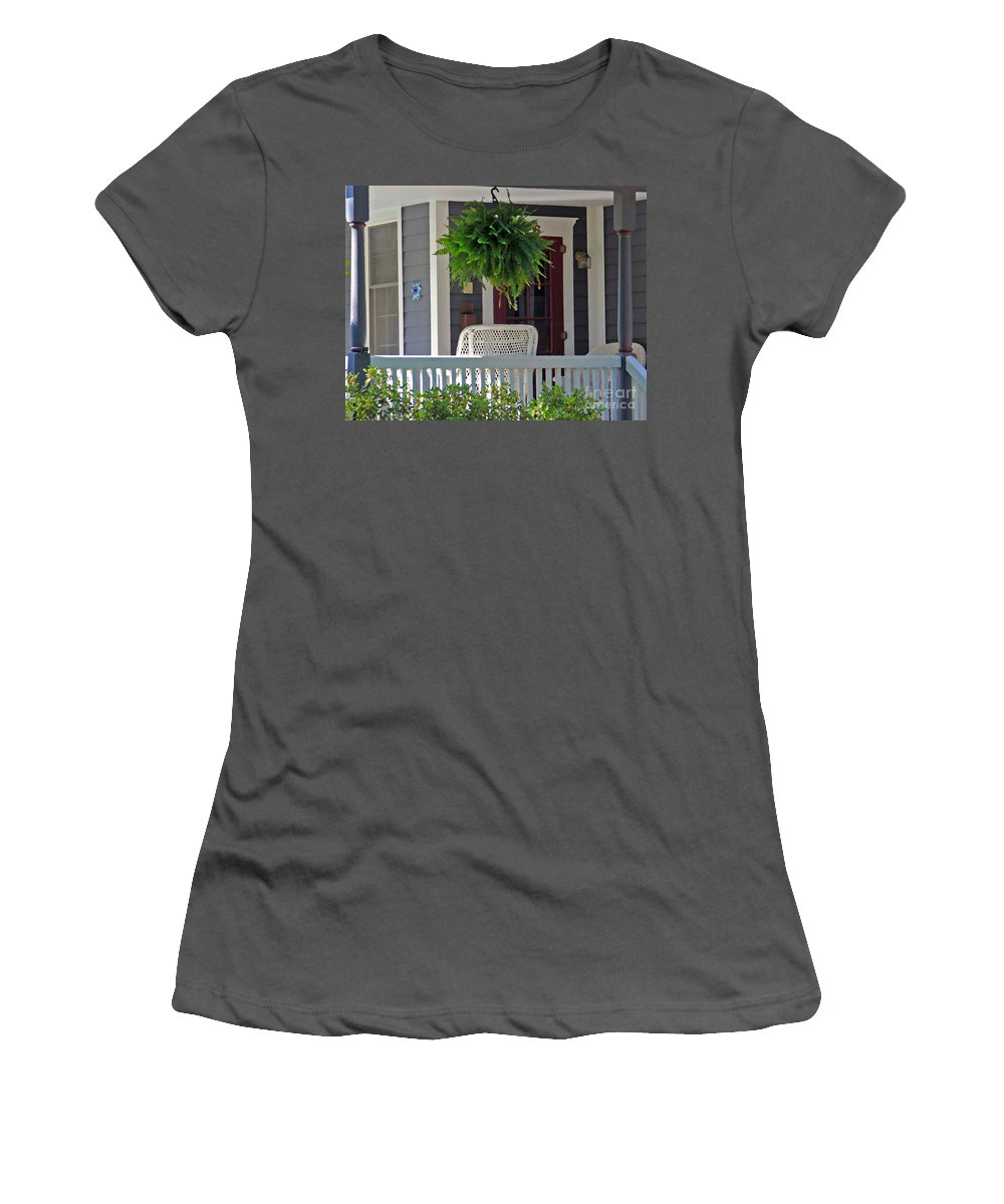 Fern Women's T-Shirt (Athletic Fit) featuring the photograph Fern On Front Porch by Jack Schultz