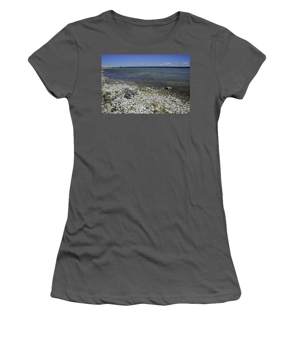 Leelanau Women's T-Shirt (Athletic Fit) featuring the photograph Leelanau Michigan Beach by LeeAnn McLaneGoetz McLaneGoetzStudioLLCcom