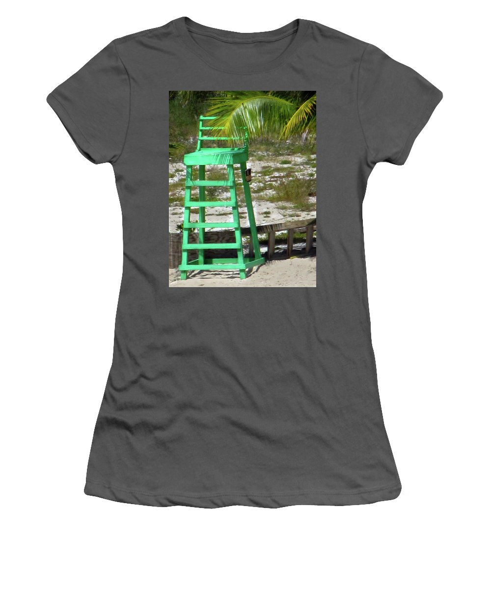 Lifeguard Chair Women's T-Shirt (Athletic Fit) featuring the photograph Lifeguard Chair by Denise Keegan Frawley