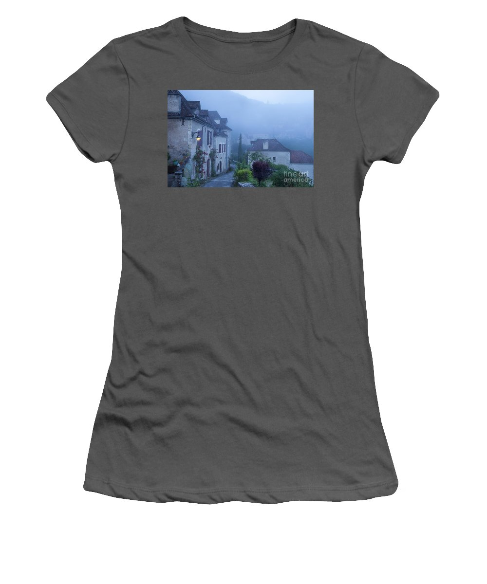 Arch Women's T-Shirt (Athletic Fit) featuring the photograph Misty Dawn In Saint Cirq Lapopie by Brian Jannsen