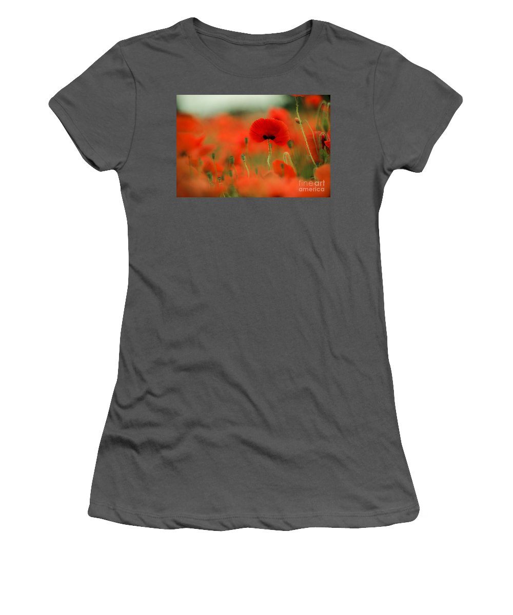 Poppy Women's T-Shirt (Athletic Fit) featuring the photograph Poppy Flowers 01 by Nailia Schwarz