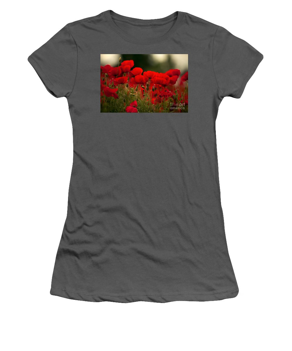 Poppy Women's T-Shirt (Athletic Fit) featuring the photograph Poppy Flowers 05 by Nailia Schwarz