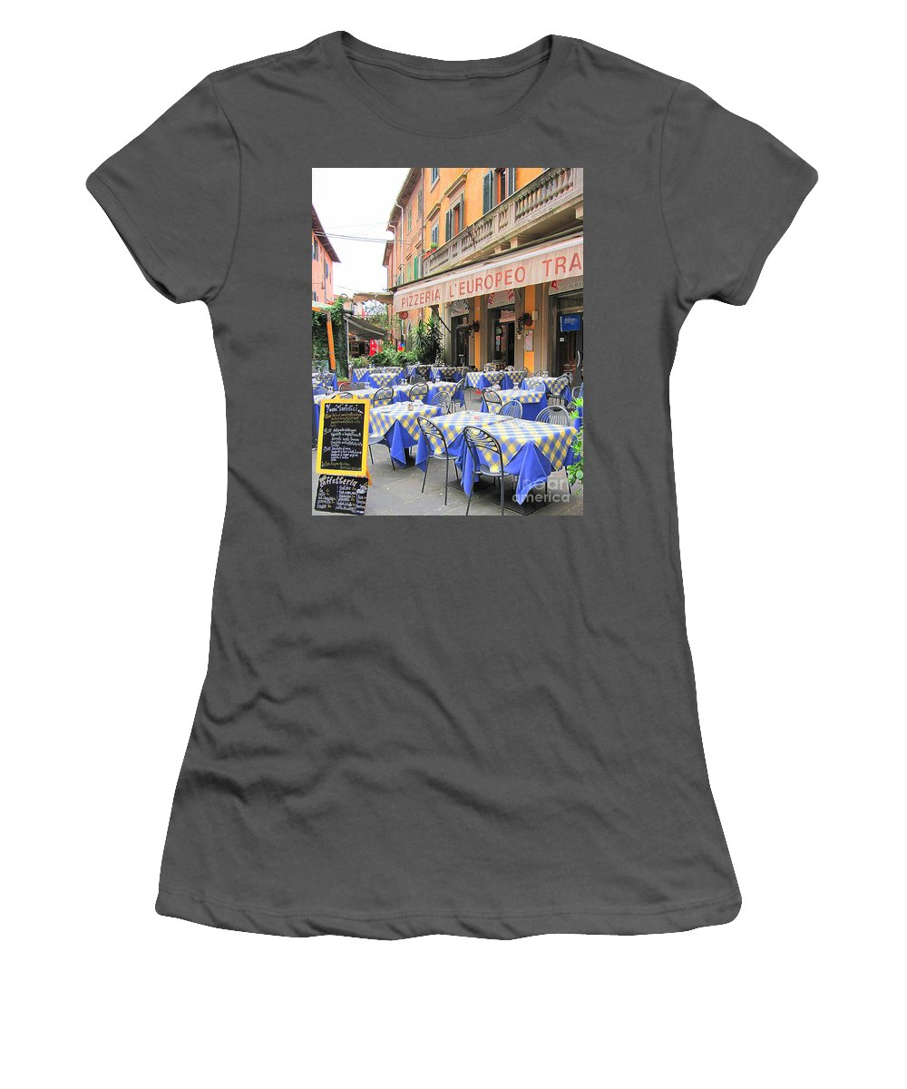 Sidewalk Cafe Women's T-Shirt (Athletic Fit) featuring the photograph Sidewalk Cafe In Italy by Jack Schultz