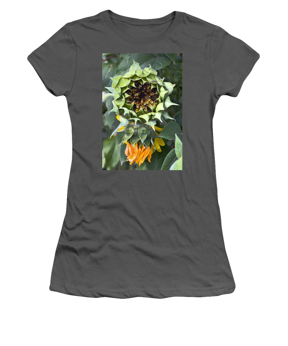 Floral Women's T-Shirt (Athletic Fit) featuring the photograph Sunflower 9 by Pamela Cooper
