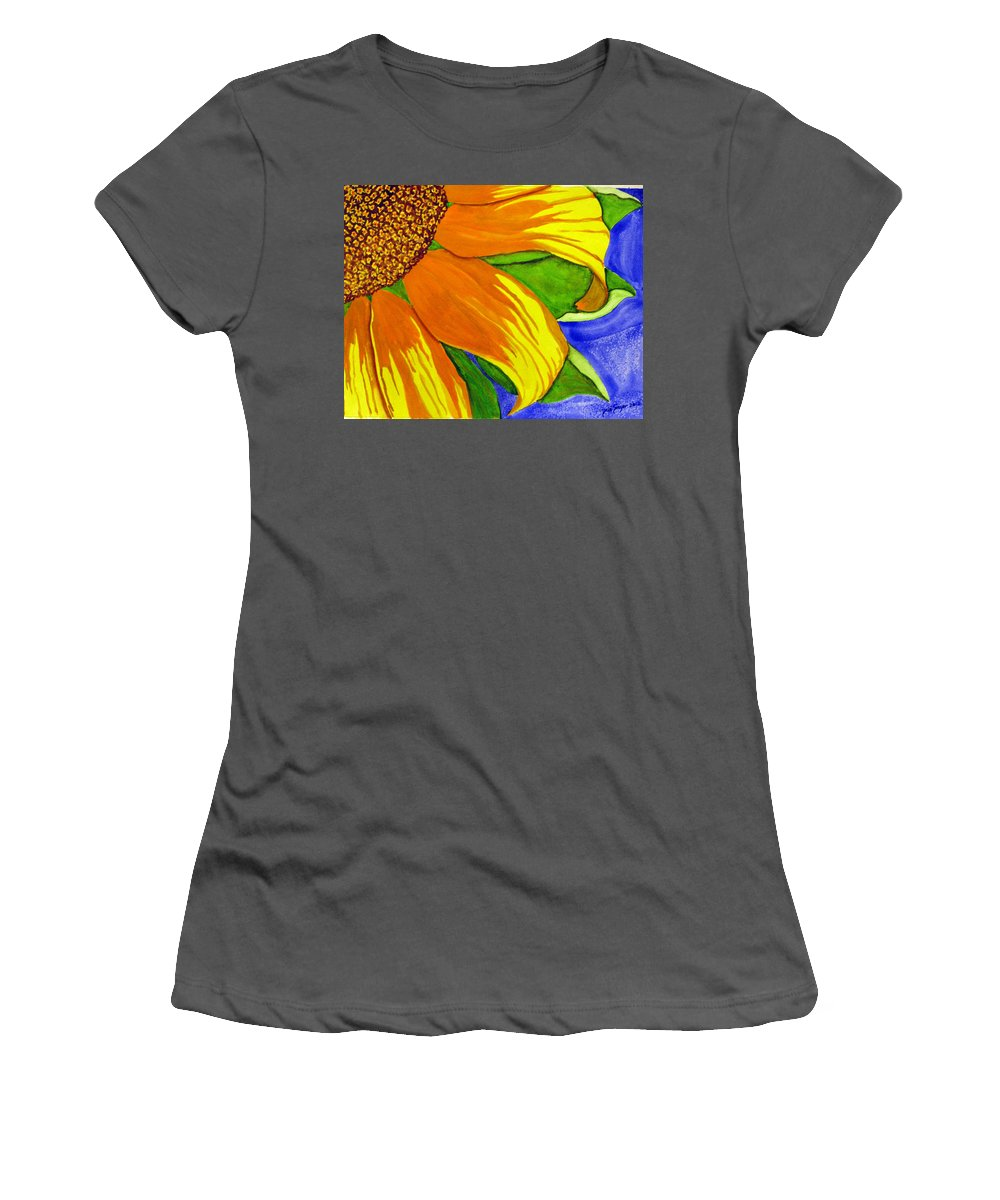 Sunflower Women's T-Shirt (Athletic Fit) featuring the painting This Is No Subdued Sunflower by Debi Singer