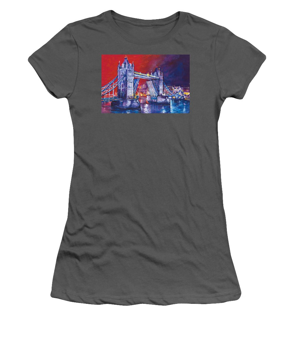 High Quality Giclee Print. Limited Edition Women's T-Shirt (Athletic Fit) featuring the painting Tower Bridge London by Patricia Clements