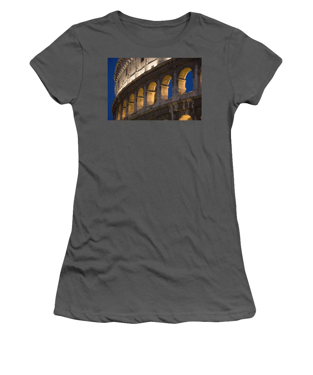 Urban Women's T-Shirt (Athletic Fit) featuring the photograph View Of The Roman Coliseum In Rome by Axiom Photographic