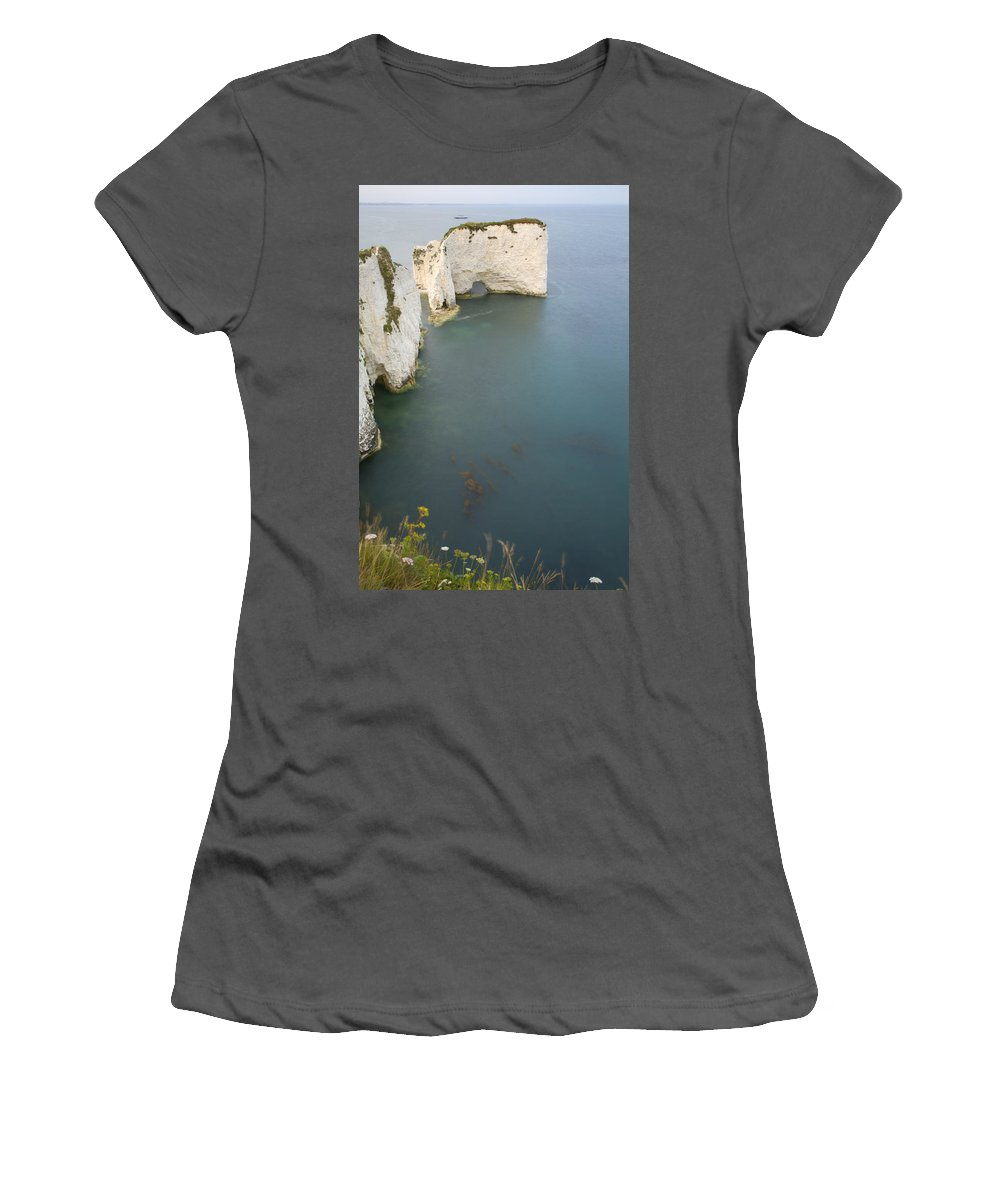 Old Women's T-Shirt (Athletic Fit) featuring the photograph Old Harry Rocks by Ian Middleton