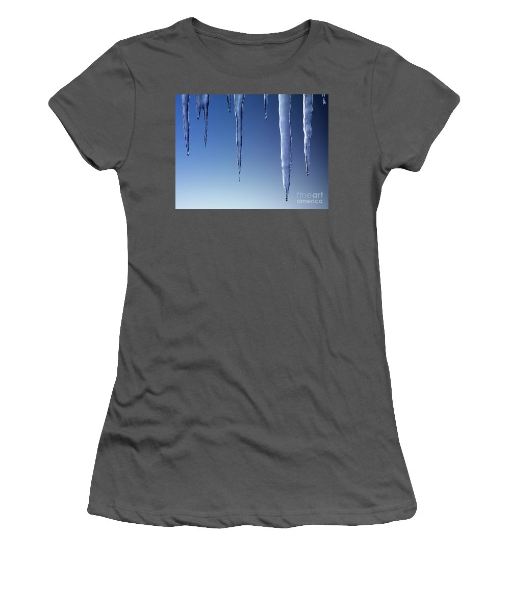 Icicles Women's T-Shirt (Athletic Fit) featuring the photograph Melting Icicles by Oleksiy Maksymenko