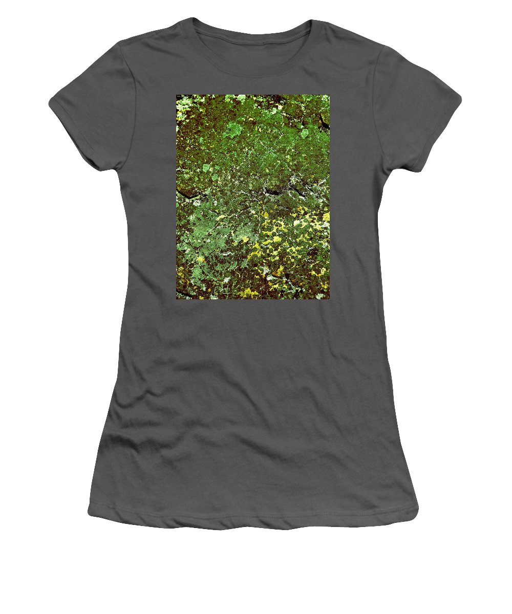 Lehtokukka Women's T-Shirt (Athletic Fit) featuring the photograph Stoneface At Hossa With Stone Age Paintings by Jouko Lehto