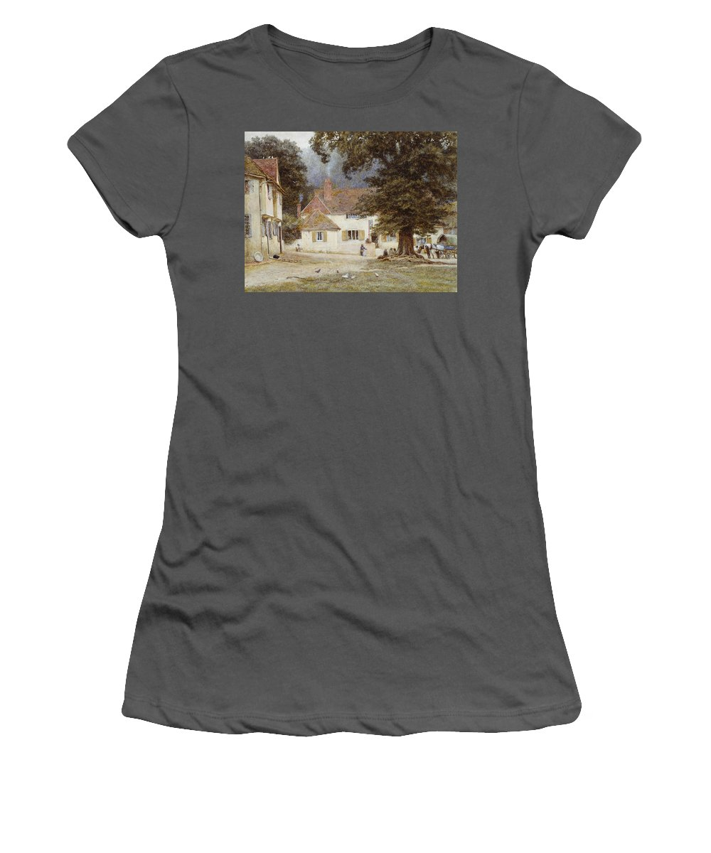 Landscape; English; Green; Pub; Public House; Rural; Victorian Women's T-Shirt (Athletic Fit) featuring the painting A Cart By A Village Inn by Helen Allingham