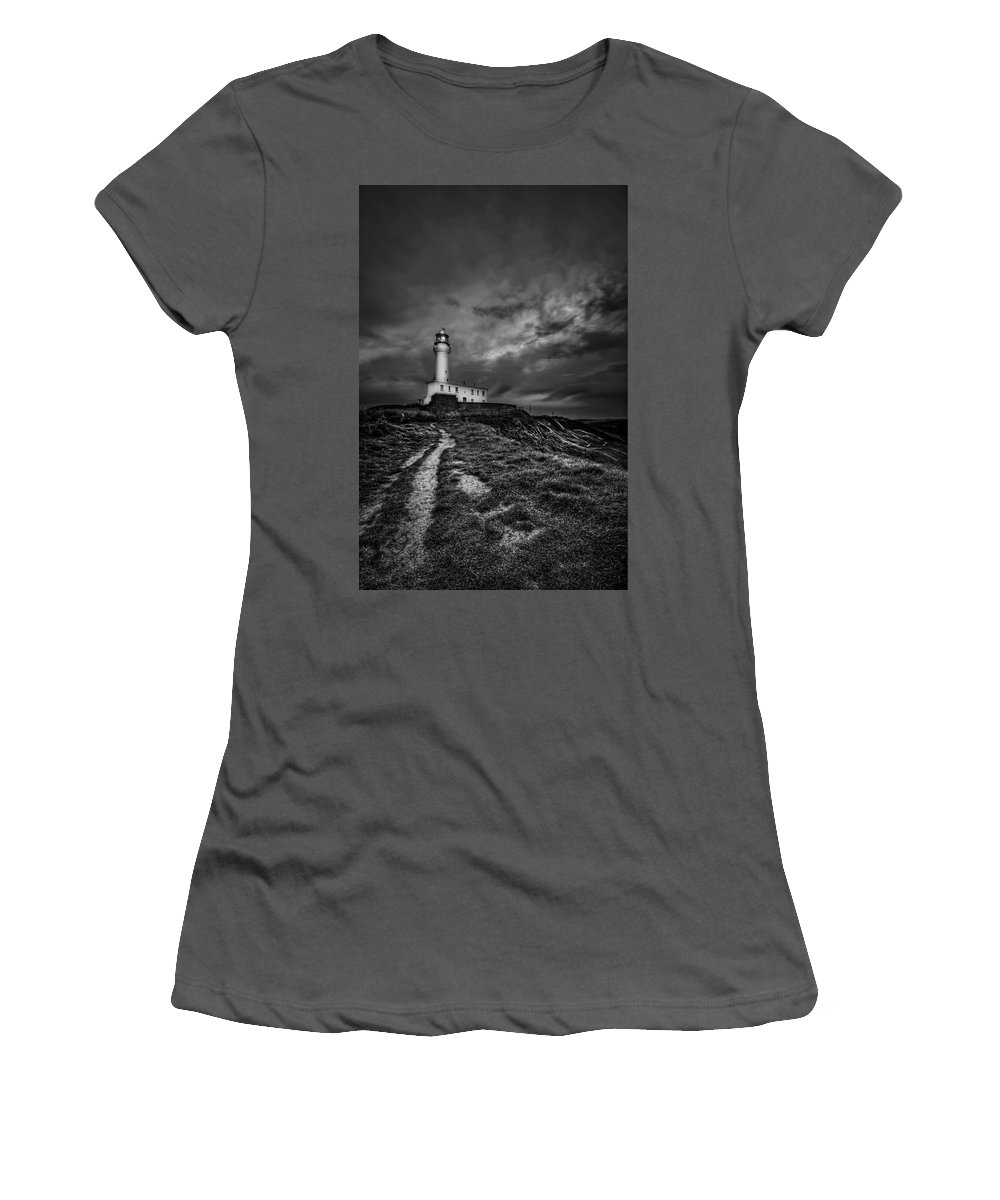 Lighthouse Women's T-Shirt (Athletic Fit) featuring the photograph A Path To Enlightment Bw by Evelina Kremsdorf