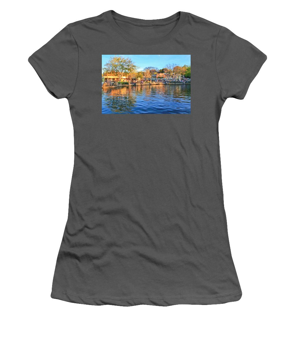 Women's T-Shirt (Athletic Fit) featuring the photograph A View Of Disneyland From Tom Sawyer Island by Heidi Smith