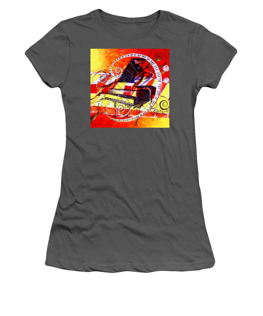 Piano Women's T-Shirt (Athletic Fit) featuring the painting Abstract Jazzy Piano by J Vincent Scarpace