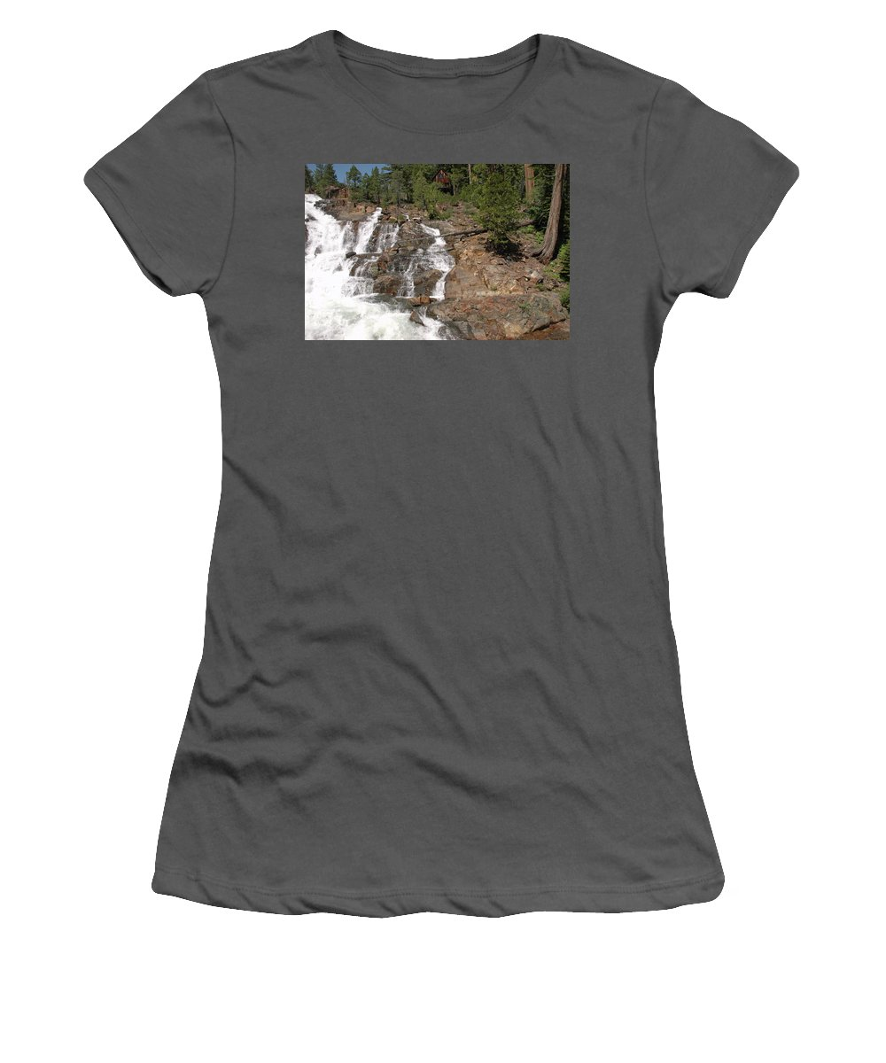 Usa Women's T-Shirt (Athletic Fit) featuring the photograph Alpine Creek Falls Lake Tahoe by LeeAnn McLaneGoetz McLaneGoetzStudioLLCcom