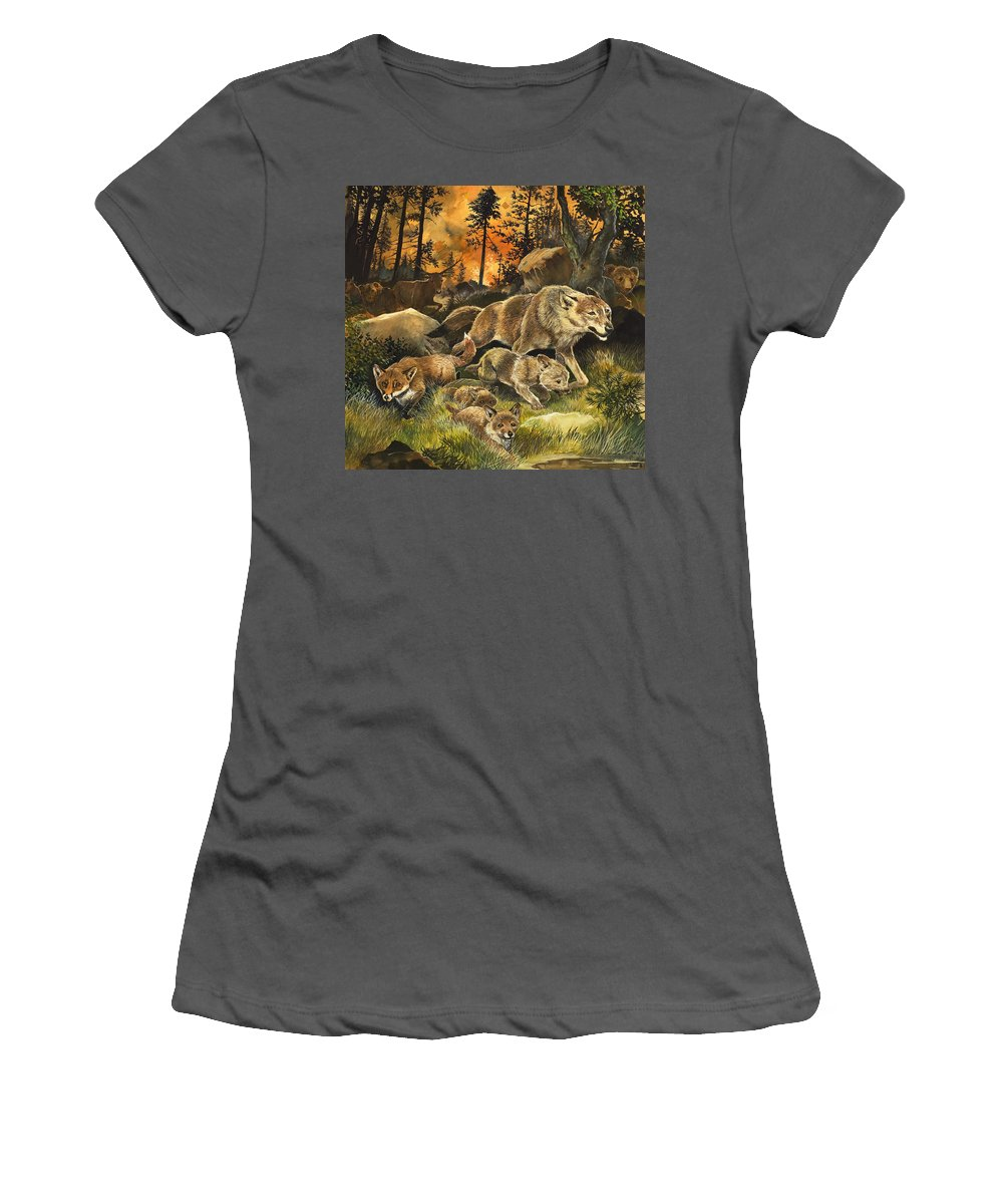 Children's Illustration; Animal; Nature; Wildlife; Frightened; Danger; Fox; Wolf; Wolves; Deer; Bear; Fuite; Feu; Foret Women's T-Shirt (Athletic Fit) featuring the painting Animals United In Terror As They Flee From A Forest Fire by G W Backhouse