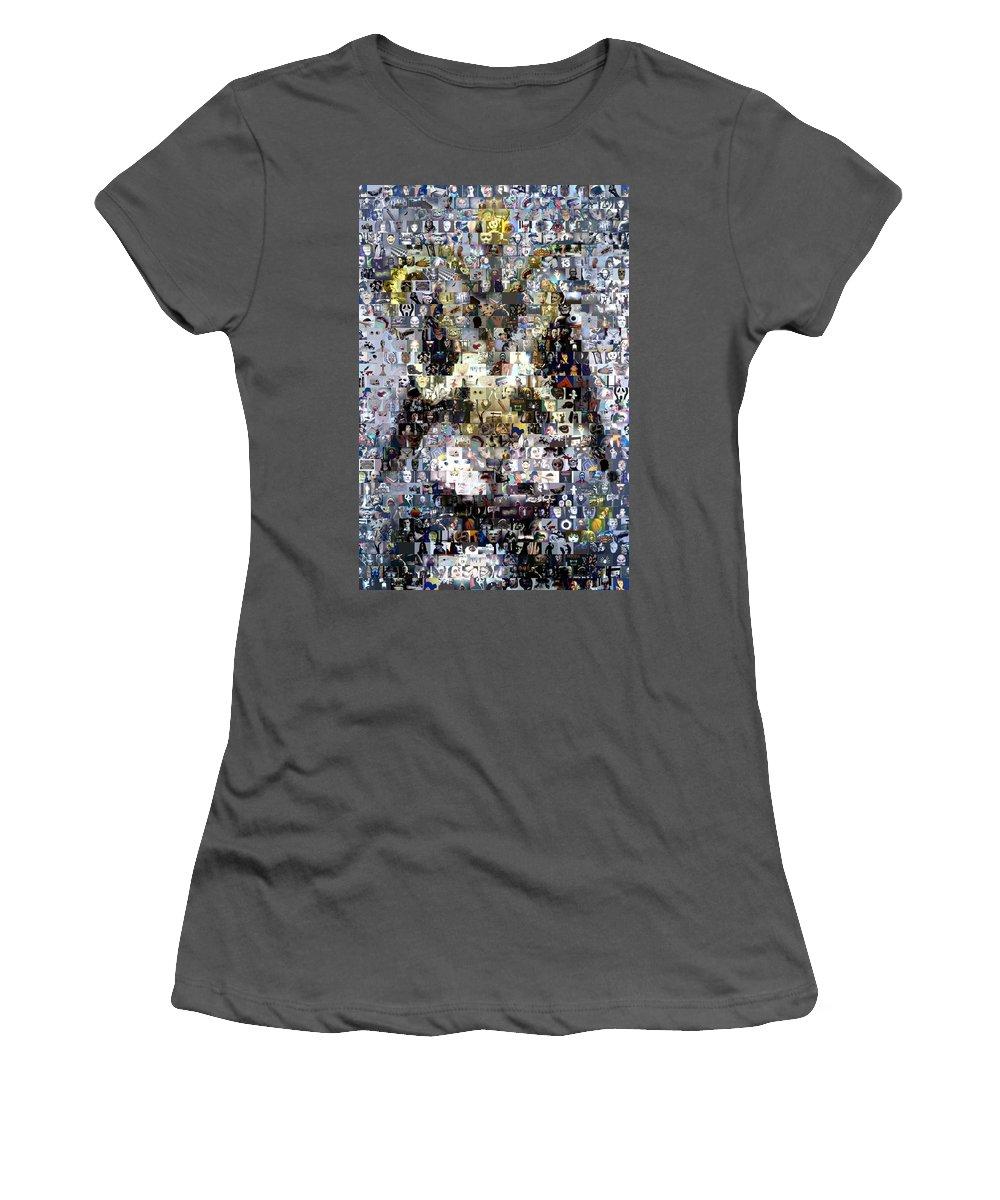 Satan Women's T-Shirt (Athletic Fit) featuring the digital art Baphomet Mosaic by Paul Van Scott