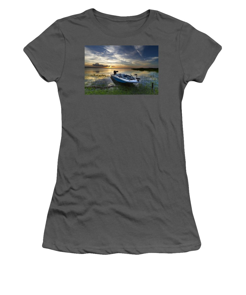 Boats Women's T-Shirt (Athletic Fit) featuring the photograph Bass Fishin' Evening by Debra and Dave Vanderlaan