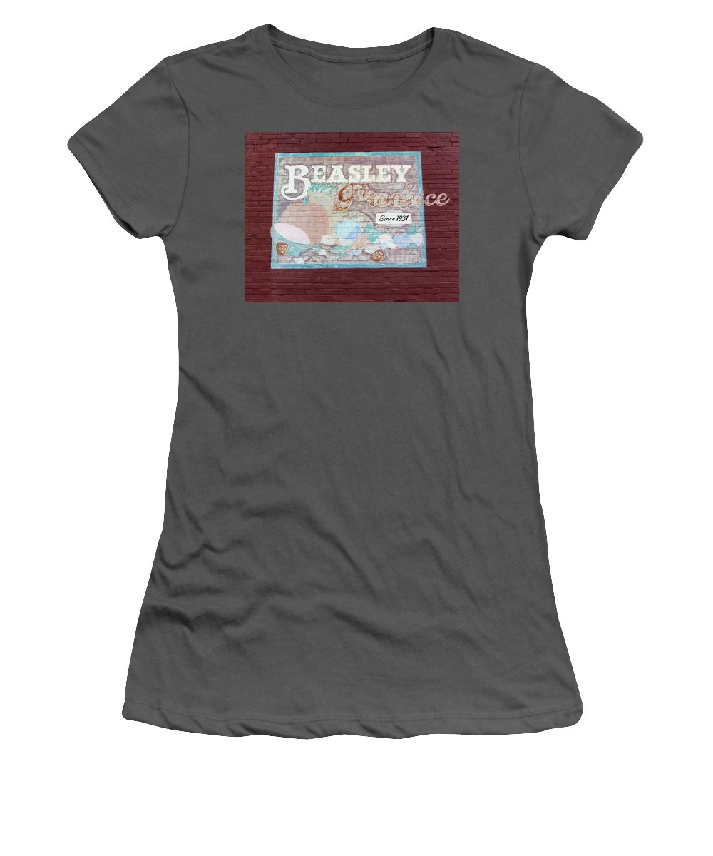 Vintage Sign Women's T-Shirt (Athletic Fit) featuring the photograph Beasley Produce Since 1931 by Kathy Clark