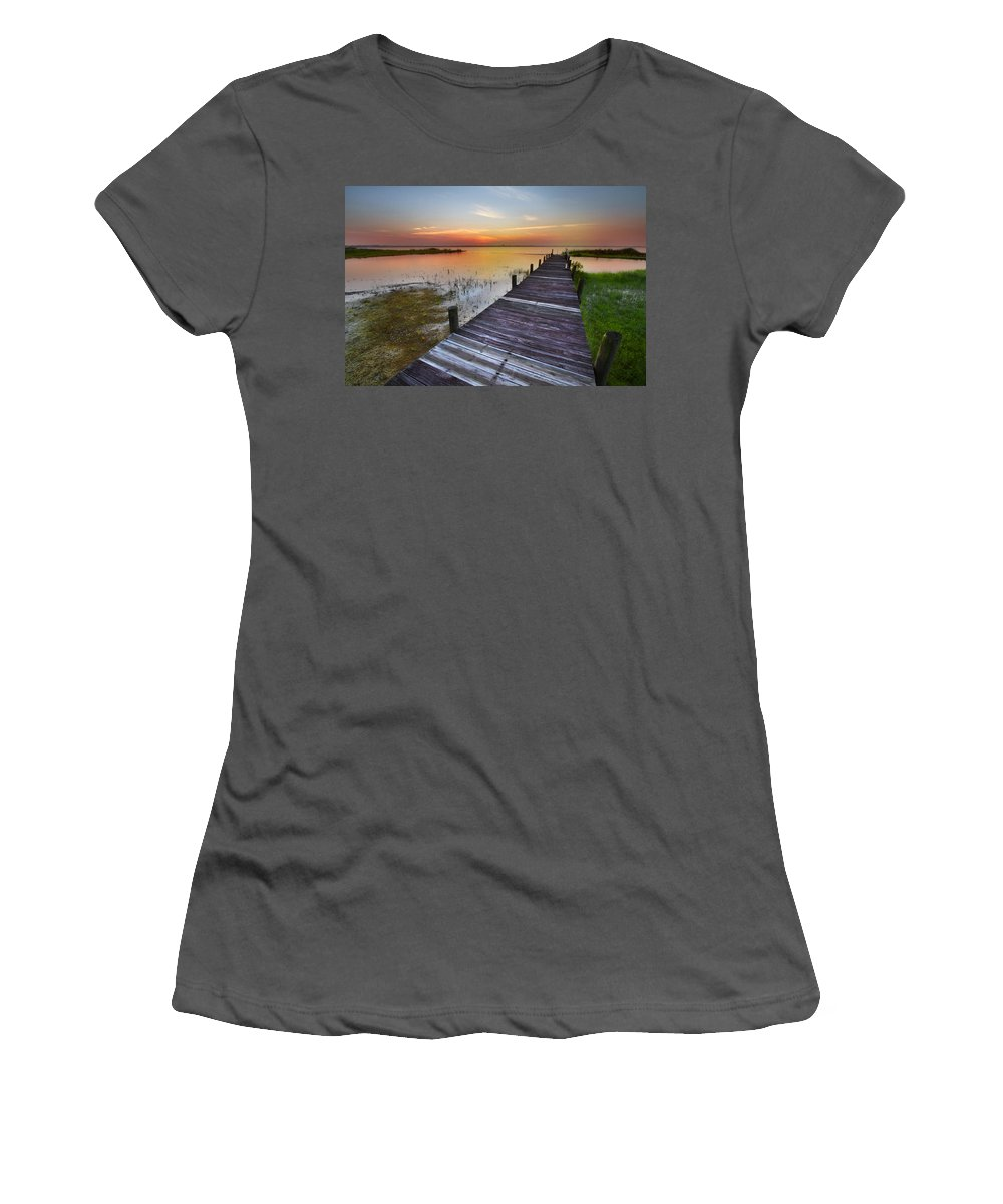 Boats Women's T-Shirt (Athletic Fit) featuring the photograph Bit Of Heaven by Debra and Dave Vanderlaan