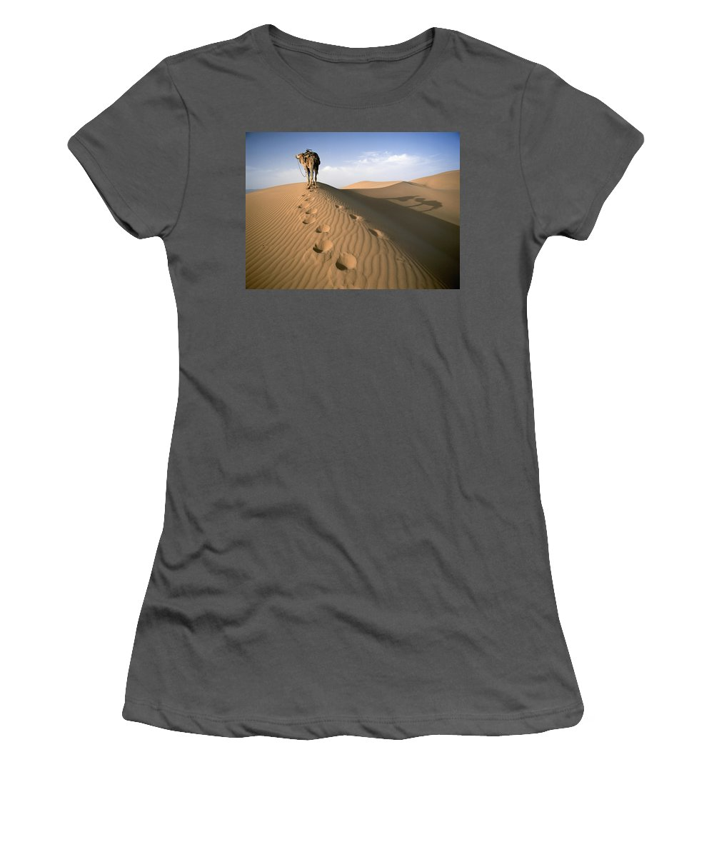 Sand Women's T-Shirt (Athletic Fit) featuring the photograph Blue Man Tribe Of Saharan Traders With by Axiom Photographic