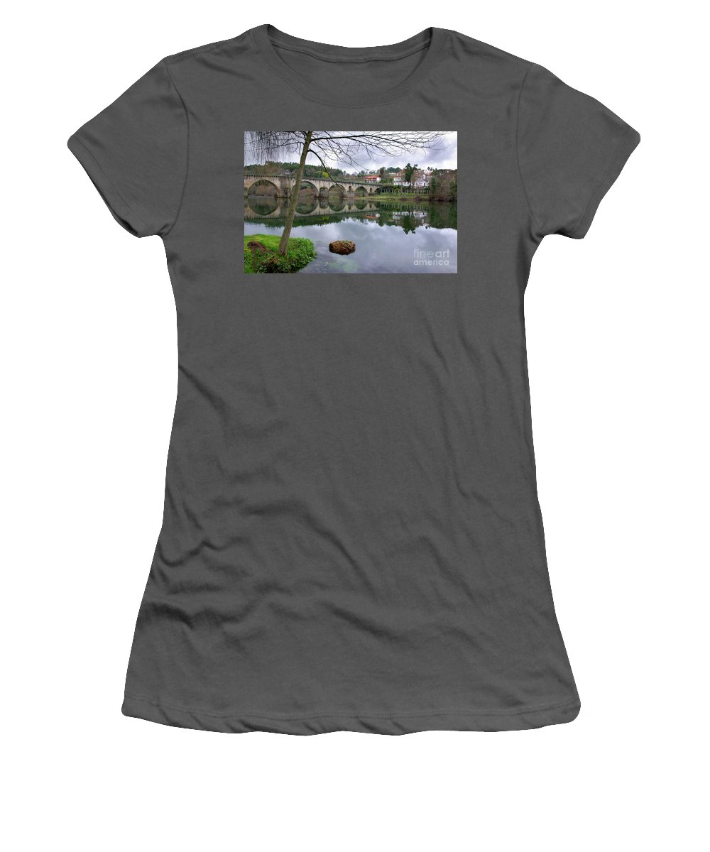 Travel Women's T-Shirt (Athletic Fit) featuring the photograph Bridge Over Lima River by Carlos Caetano