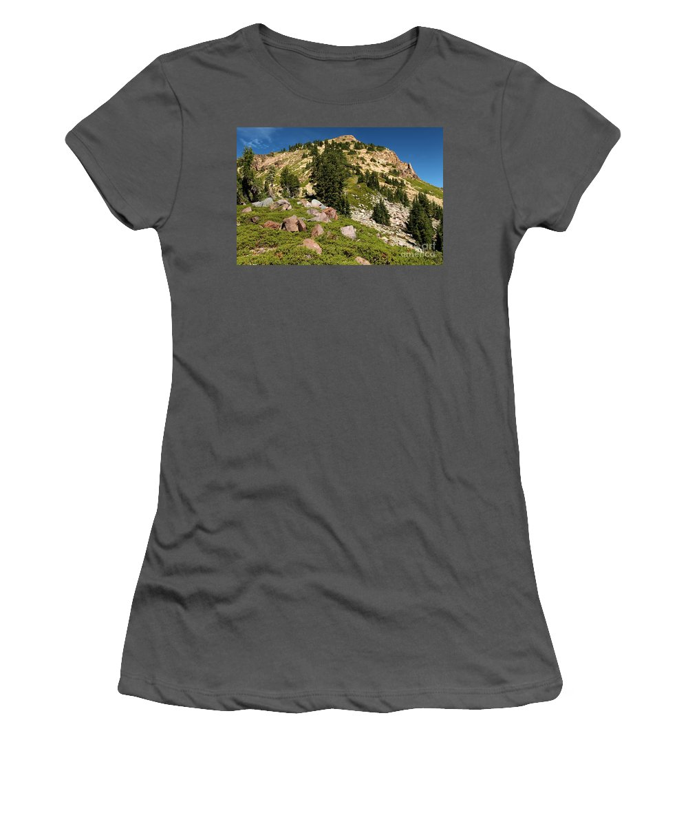 Lassen Volcanic National Park Women's T-Shirt (Athletic Fit) featuring the photograph Brokeoff Mountain by Adam Jewell