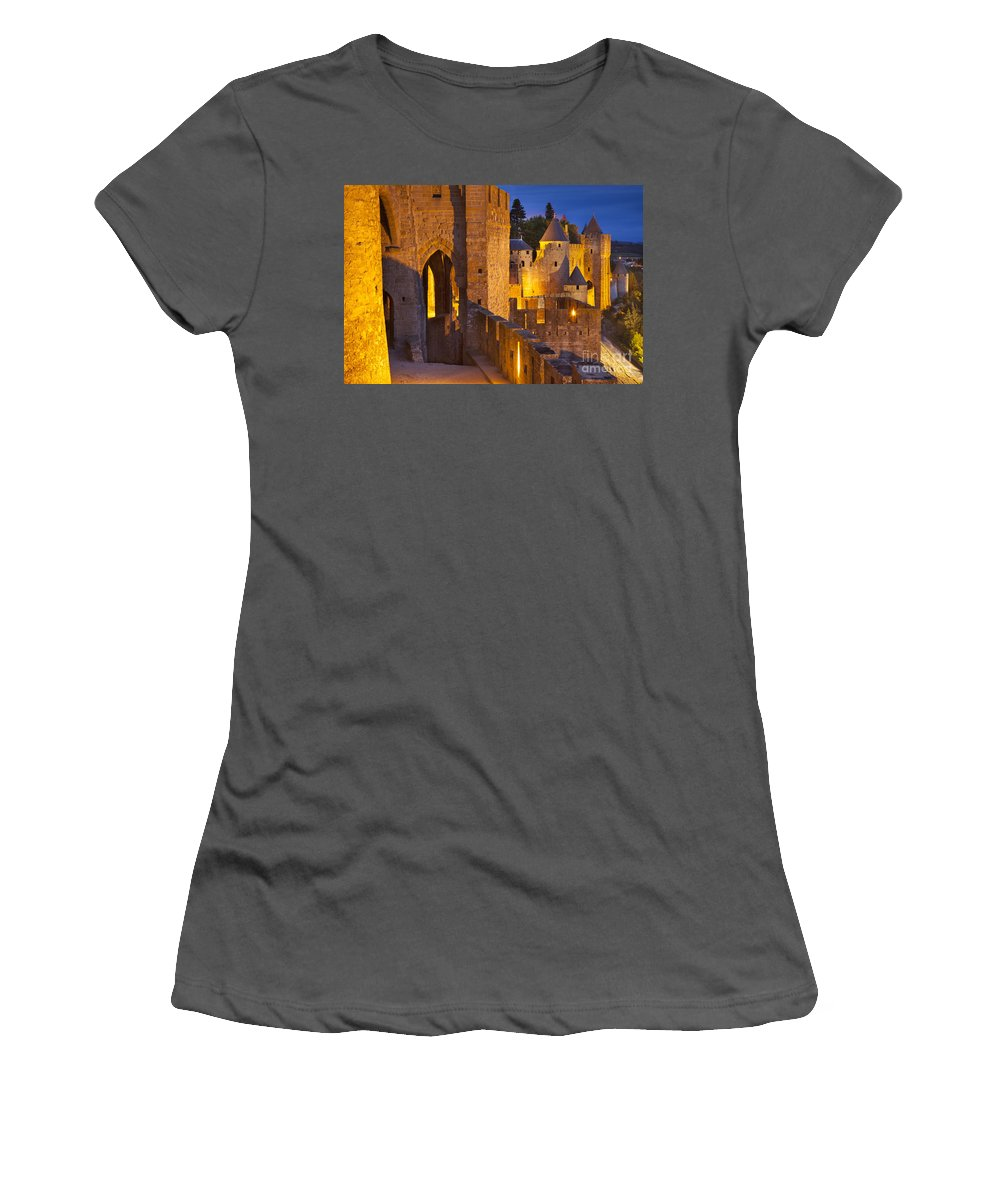 Architecture Women's T-Shirt (Athletic Fit) featuring the photograph Carcassonne Ramparts by Brian Jannsen