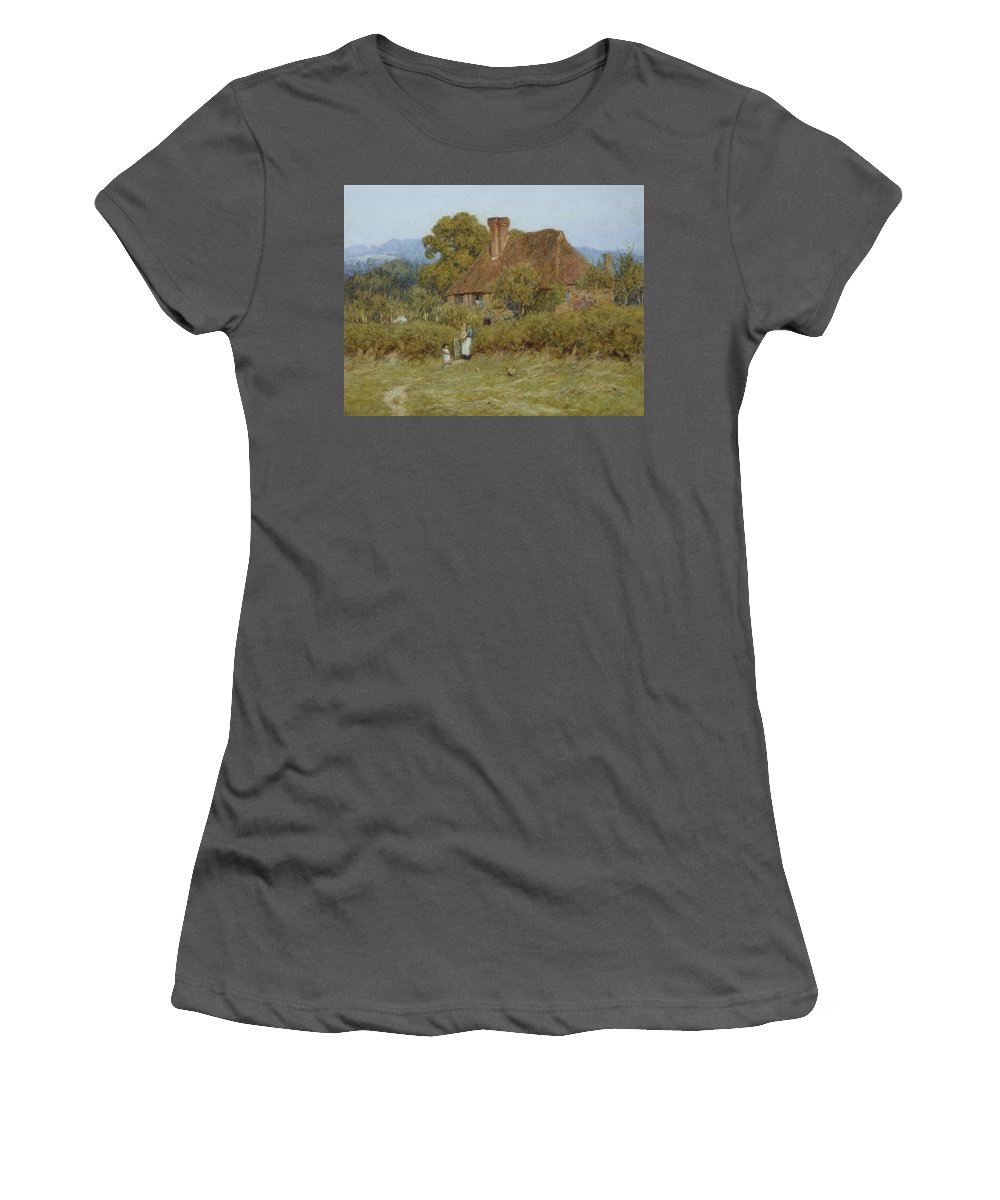 Dusk; Evening; English; Landscape; C19th; C20th; Mother; Children; Child; Baby; Gate; Field; Victorian Women's T-Shirt (Athletic Fit) featuring the painting Cottage At Broadham Green Surrey In Sunset Light by Helen Allingham