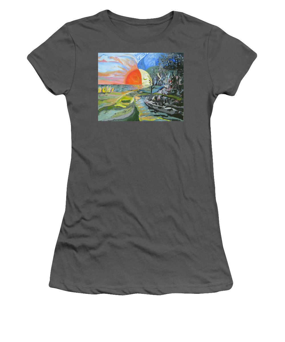Abstract Women's T-Shirt (Athletic Fit) featuring the painting Day Meets Night by Daniel Gale