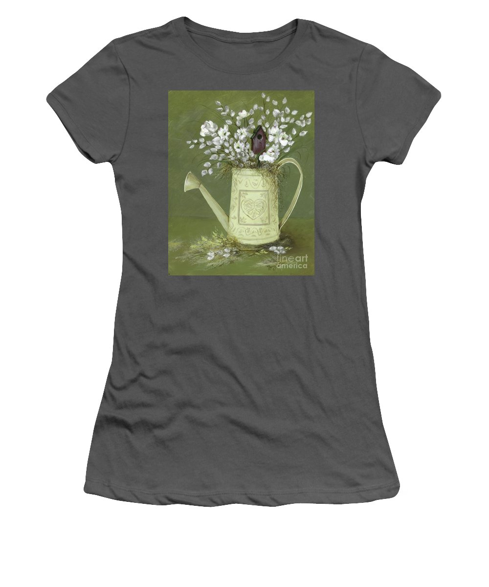 Watering Can Women's T-Shirt (Athletic Fit) featuring the painting Dogwood Cuttings by Nancy Patterson