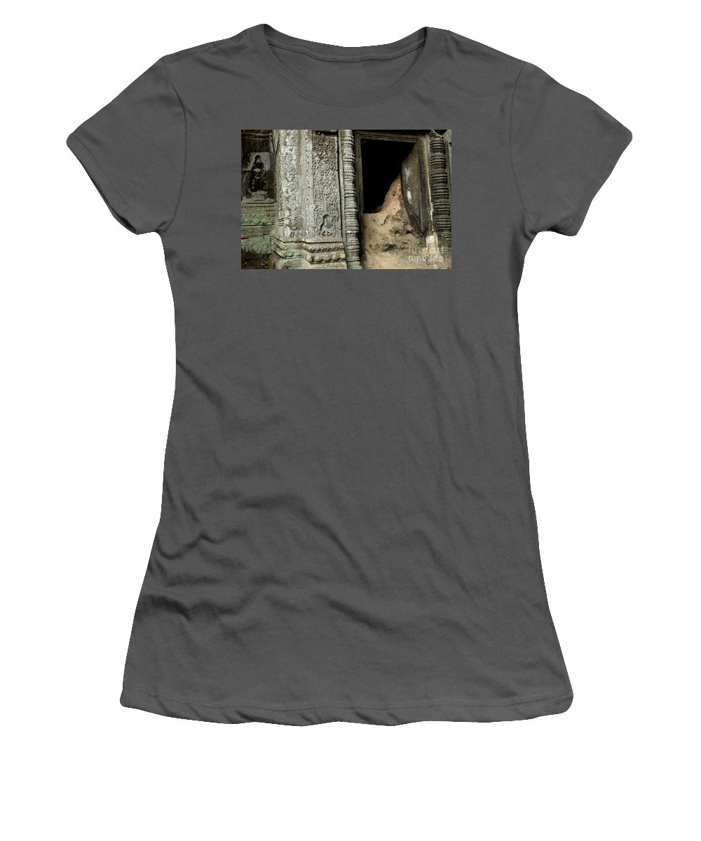 Cambodian Youth Women's T-Shirt (Athletic Fit) featuring the photograph Doorway Ankor Wat by Bob Christopher