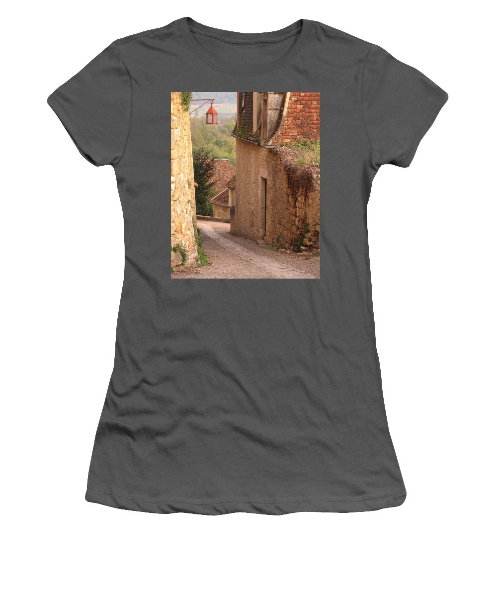 France Women's T-Shirt (Athletic Fit) featuring the photograph Down The Lane In Beynac France by Greg Matchick