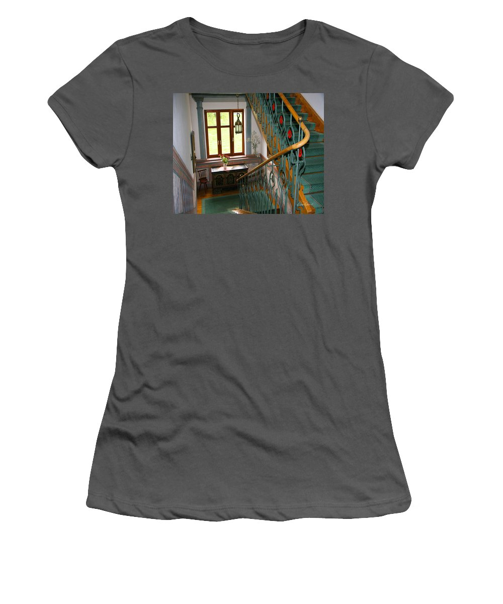 Staircase Women's T-Shirt (Athletic Fit) featuring the photograph Fancy Stairs by Diana Haronis