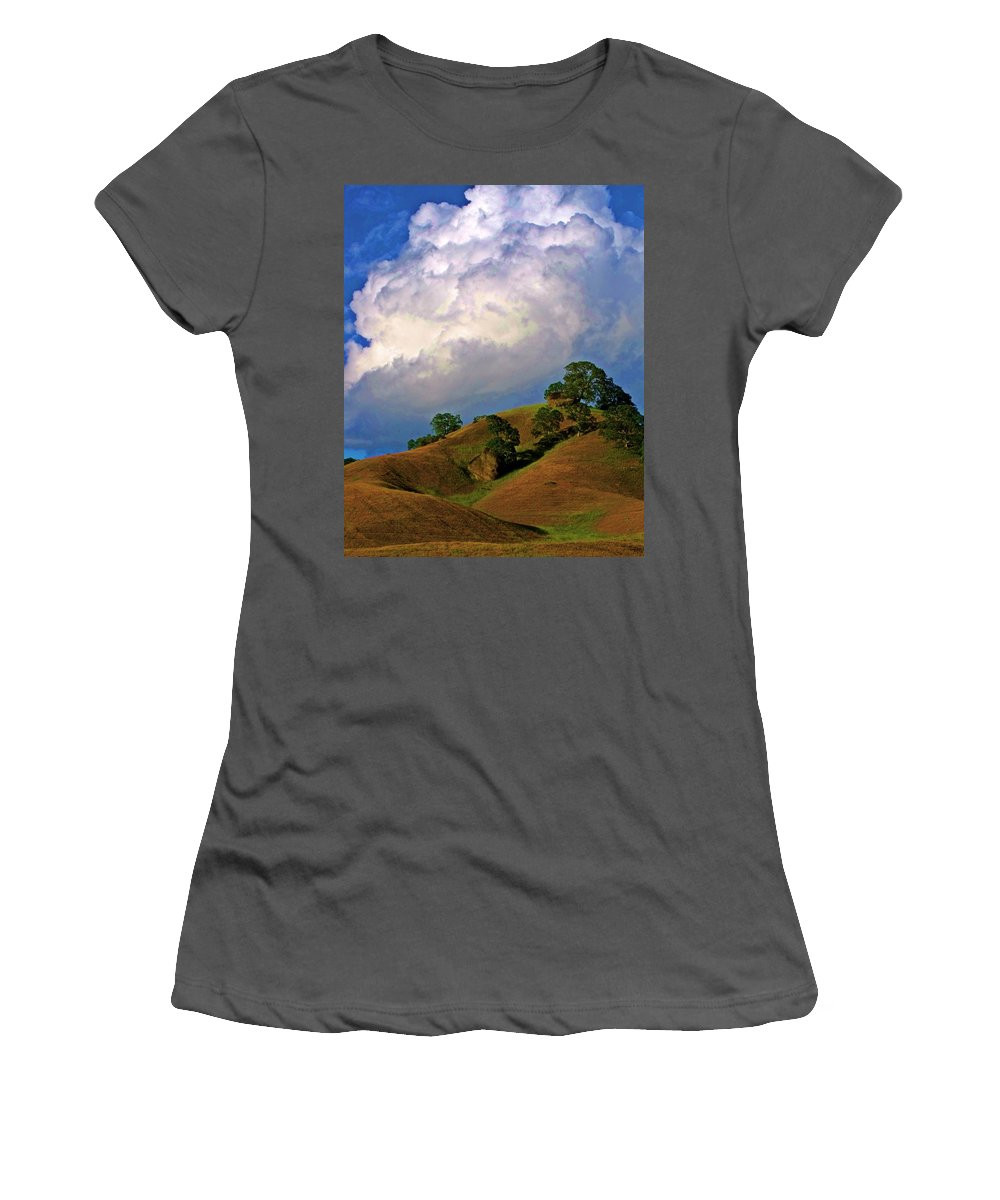 Landscape Photography Women's T-Shirt (Athletic Fit) featuring the photograph Feminine Hills In Late Day by Cherokee Blue
