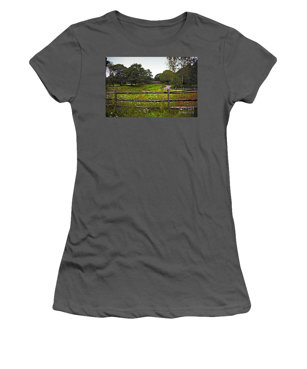 Flowers Women's T-Shirt (Athletic Fit) featuring the photograph Field Of Flowers 3 by Madeline Ellis