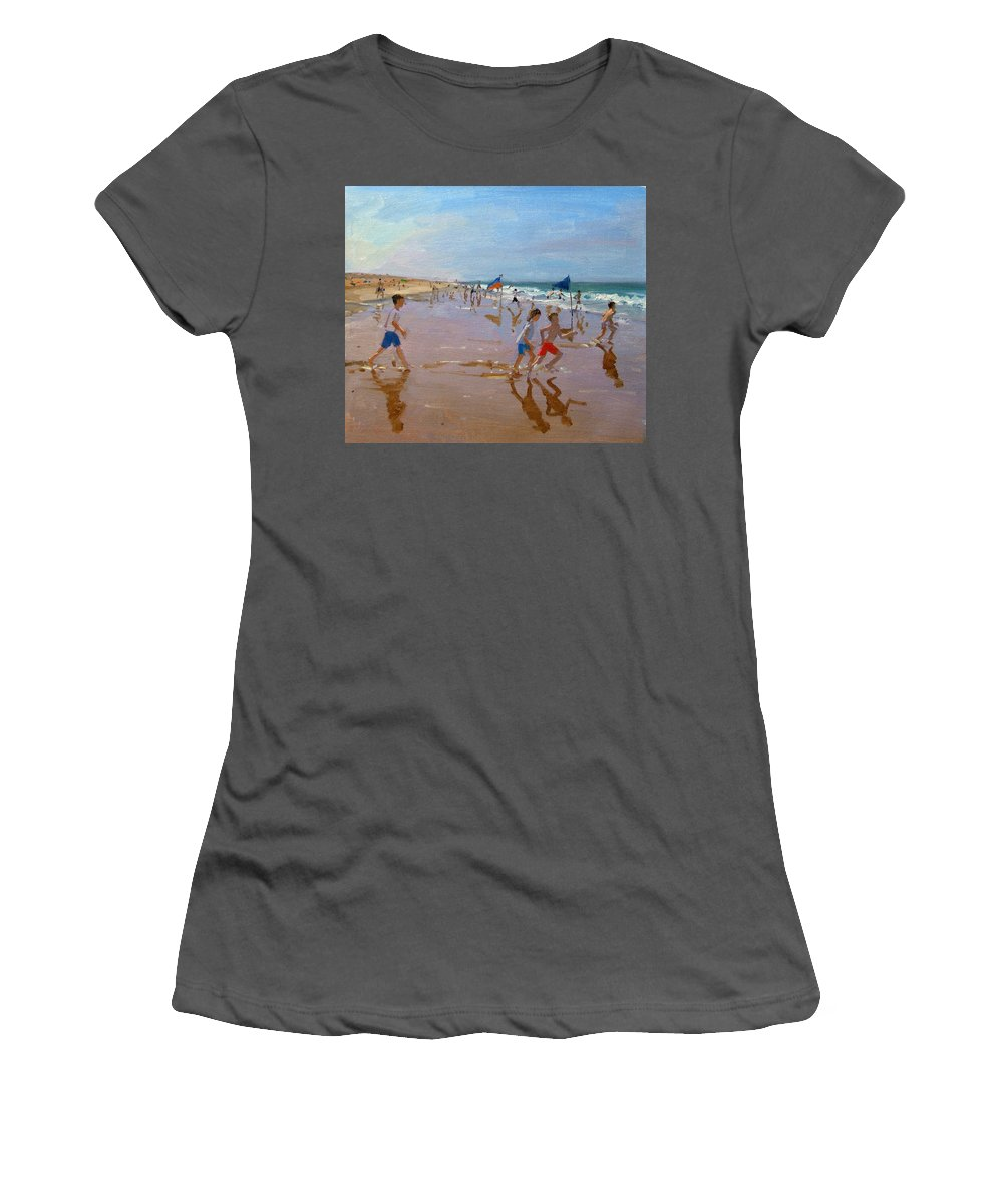 Seaside Women's T-Shirt (Athletic Fit) featuring the painting Flags And Reflections by Andrew Macara